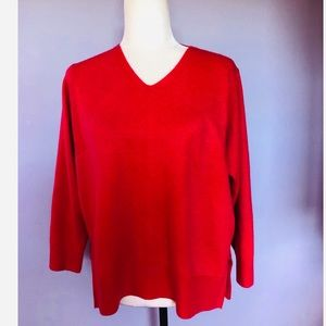 French connection bright pink v neck sweater